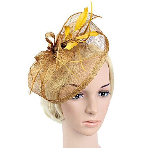 Gold Top Hat (BAOBAO Women Feather Net Sinamay Fascinator Hat with Hair Clip Wedding Tea Party Derby)