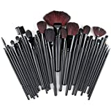 DRQ Makeup Brushes Set - 32 Pcs Black Rod Makeup Brush Cosmetic Set Kit with Case - Best Professional Make Up Brush Set with Pouch Black- 32 Piece Natural and Synthetic Brushes | Foundation - Powder - Eye - Lip Brushes