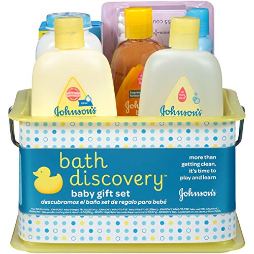 Johnson's Bath Discovery Gift Set For Parents-To-Be, Caddy With Bath Essentials, 8 Items ()
