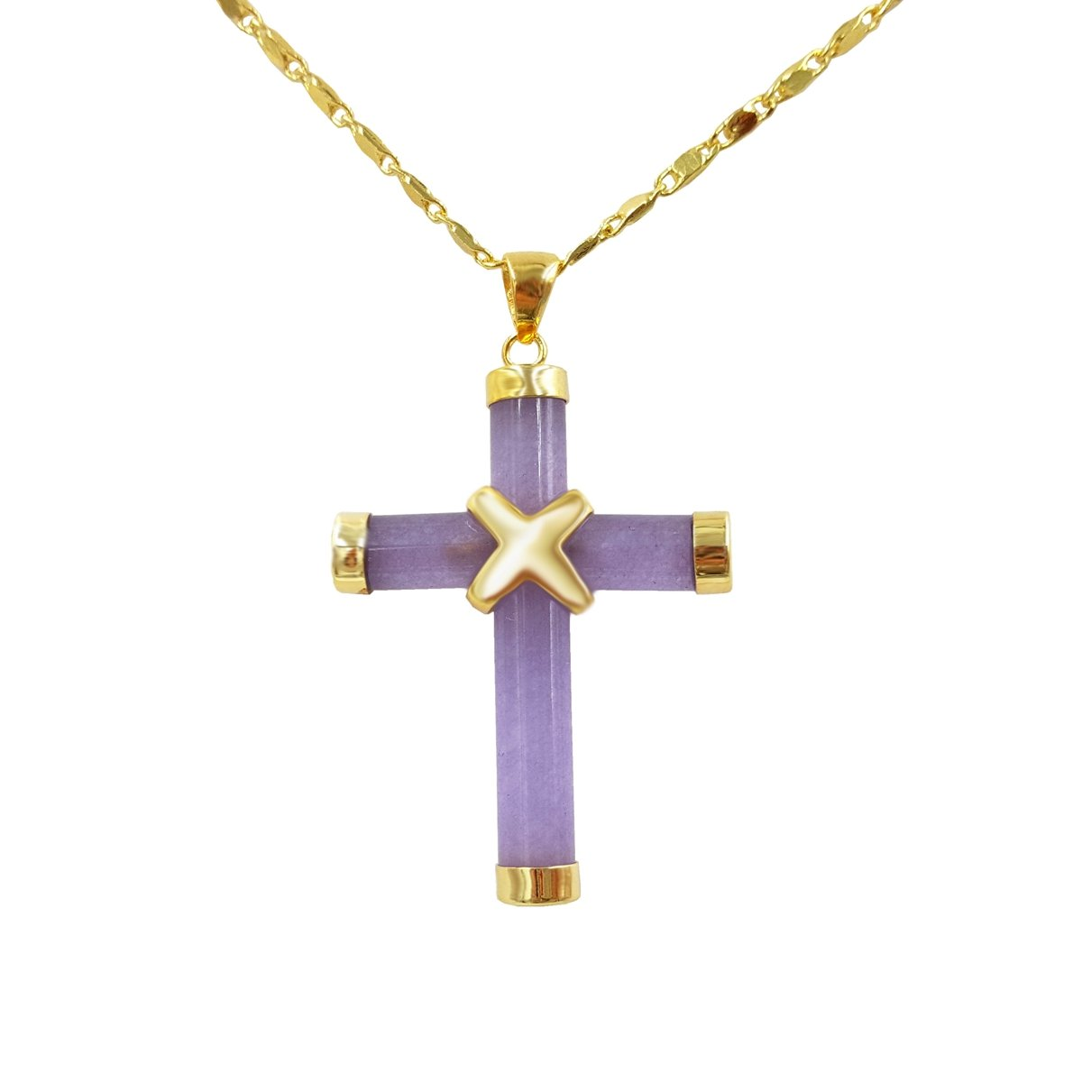 16'' Natural Stone Cross Pendant Necklace (Purple)