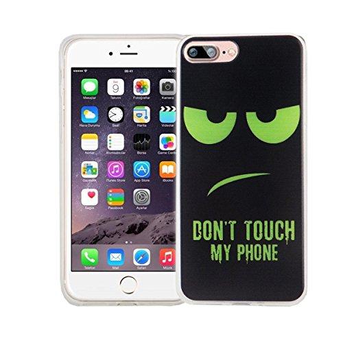 König-Shop Handy Hülle für Apple iPhone 7 Plus Cover Case Schutz Tasche Motiv Slim Silikon Bumper Schale Etuis Rahmen TPU Motiv Dont touch my Phone Grün