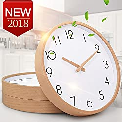 Wall Clock Wood 12 Silent Large Wood Wall Clocks Digital Wall Clock Non Ticking For Kitchen Room Vintage Home Decor (Number)