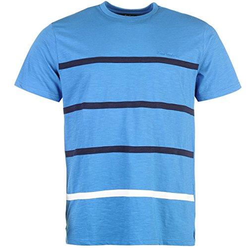 Col Homme Rond T A 100 Cardin Appliqué Courtes Blue Rayures Décontractée Coupe Manches Pierre Coton navy shirt zvFqwF5