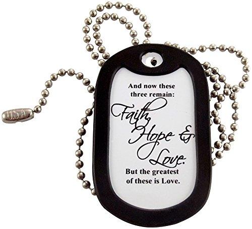Tag-Z Military Dog Tags - Faith, Hope & Love - 1 Corinthians 13:13 Dog Tag Necklace ()