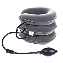 GentFit® Neck Traction For Neck & Shoulder Pain, Pinched Nerve, Best Quality Inflatable Cervical Traction, Neck Pillow, Universal Fit