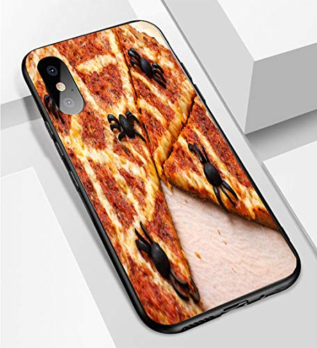 iPhone X/XS Ultra-Thin Phone case Ideas for Halloween Pizza with Olives Spiders Anti-Drop Anti-Slip Soft Convenient Protective Shell -