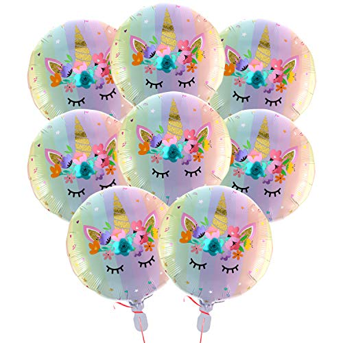 18 Inch Pastel Rainbow Unicorn Foil Mylar Balloons for Birthday Party Wedding Party Decorations Supplies (8 Pieces)