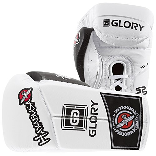 Hayabusa Leather Glory 10 oz Lace Gloves, White - Ounce Gems Bag 10