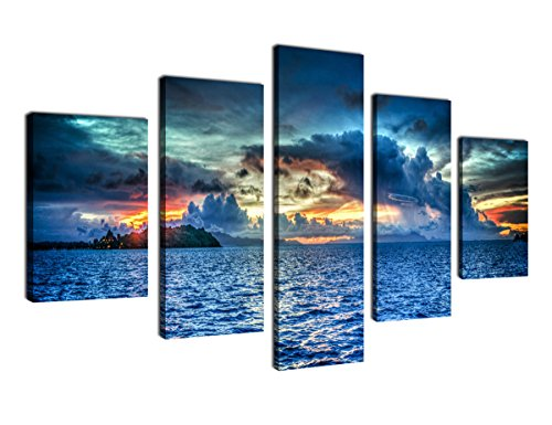 Framed Painting (Canvas Painting Wall Art Sunset Sea Framed Ready to Hang - 5 Piece Large Contemporary Nature Painting Bora Bora Polynesia Heavy Clouds Ocean Art Modern Picture Artwork for Home Decoration)