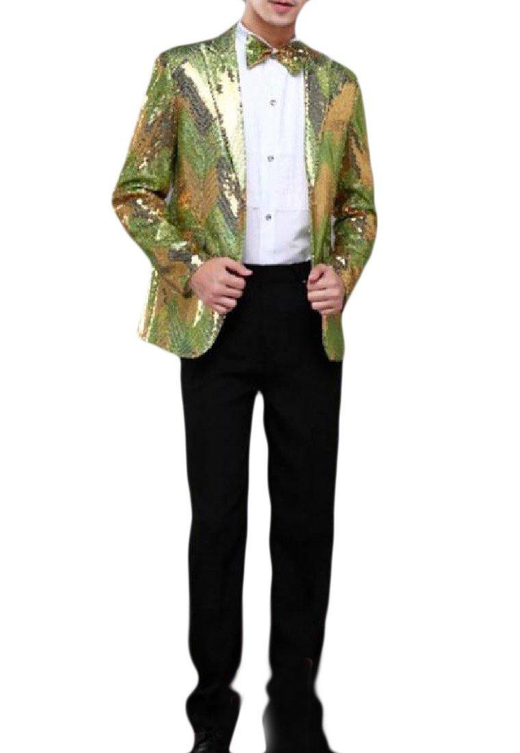 Kankanluck Men Top Wedding Gradients Blazer Sequin Club Stylish Business Suit Green S