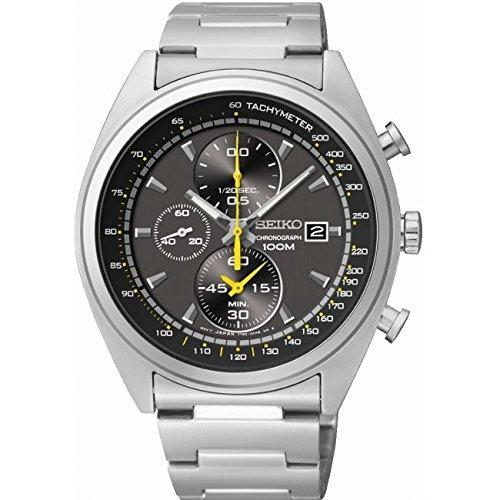 Seiko Chronograph Grey Dial Stainless Steel Mens Watch (Seiko Mens Grey Dial)