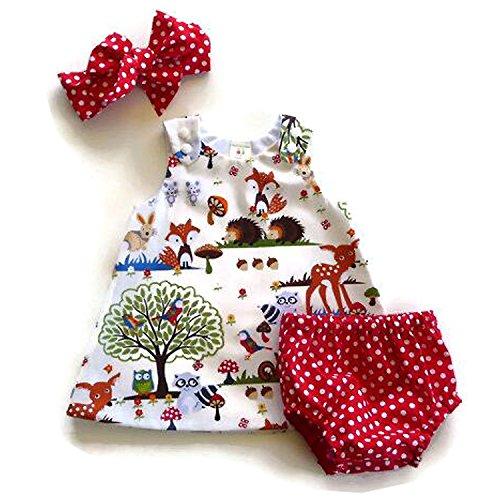[Baby Girl Clothing Set Cartoon Animal Print Dress+Polka Dot Shorts with Headband] (Baby Animal Dresses)