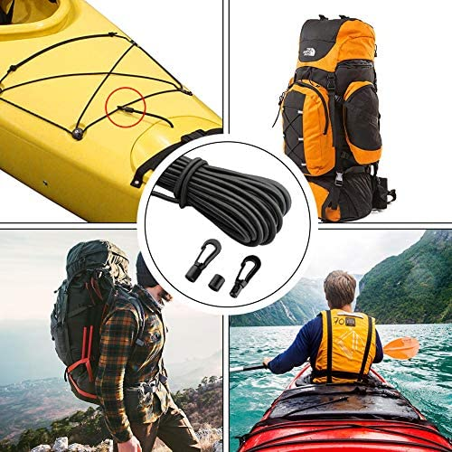 Fitness and Outdoor Enthusiasts GEUNTECH 1//4 Elastic Bungee Shock Cord Exercise Kayak Stretch String Rope with Bungee Shock Cord Hook Suitable for Kayaks Boat Camping Accessories