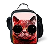 Mumeson Cute Animal Cat Print Lunch Bag Kit Insulated Tote Food Container Lunchbox for School Work Office