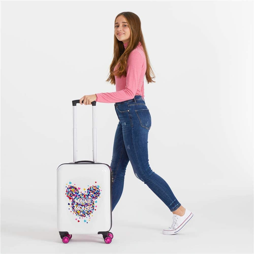 Rosa Disney Maleta de Cabina Minnie Magic Corazones r/ígida 38x55x20 cm