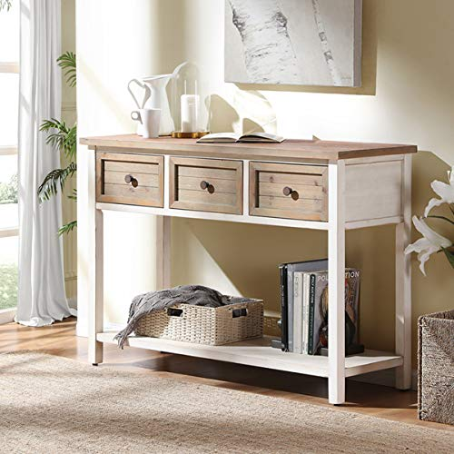 FurniChoi Rustic Sofa Table, Farmhouse Console Table for Living Room, Entryway Hallway Table with Storage Drawers, White and Brown