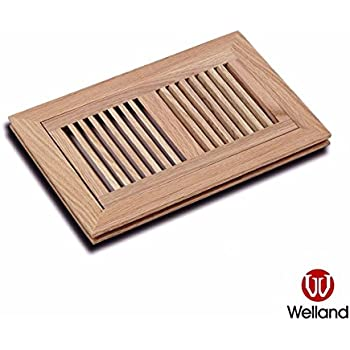 WELLAND 6 Inch X 14 Inch Red Oak Wood Vent Cover Floor Register Louvered