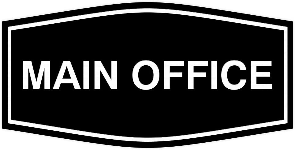 Fancy Main Office Sign (Black) - Large