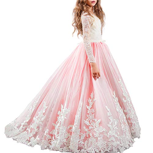 FYMNSI Flower Girl Tulle Dress Kids Lace Beaded Pageant Long Sleeve First Communion Christmas Wedding Cocktail Ball Gowns Watermelon 12-13T]()