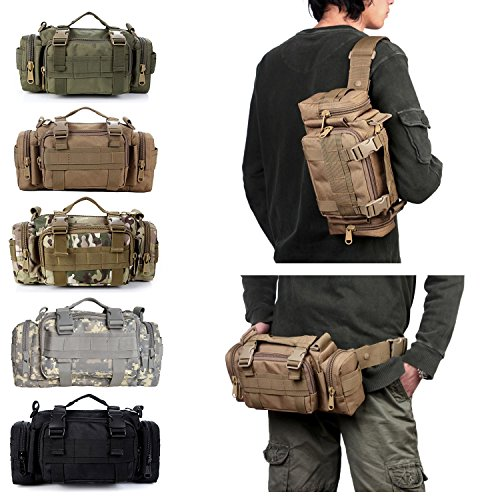 Tailcas® 600d impermeable utilidad táctica cintura Pack bolsa bolso bandolera bolso militar Camping senderismo bolsa deporte al aire libre multiusos bolsa, especialmente diseñado para niños/adolescent verde