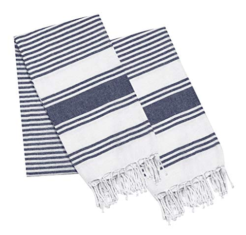 Thin Beach Towel in Cotton Fabric with Quick Dry Absorbent Quality,Peshtemal Beach Towel,Pool Blanket,Fouta Beach Towels,Gym Pool Blanket Fouta Towels, Stripe Design 39x70 -Navy White. Set of 2 -