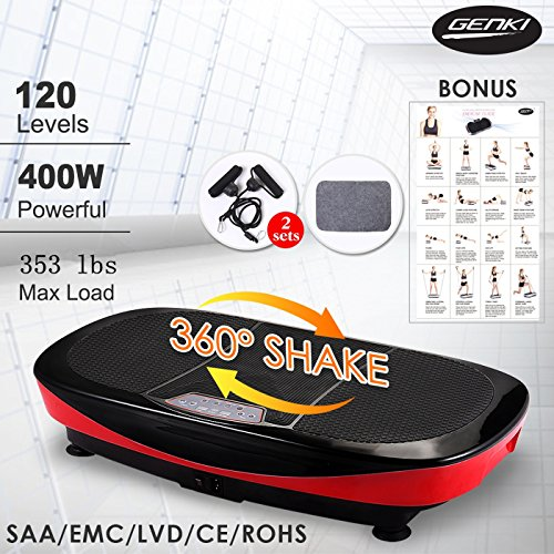 3D Dual Motor Vibration Platform Machine, 360 Degree Shake, Full Body Vibration with Remote Control, Resistance Bands & Mat - Red