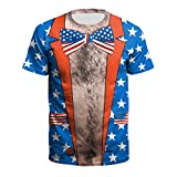 Toys : Transser 4th of July for Men's Tee Shirts, Crew Neck Slim-Fit 3D Print Quick Dry Summer T-Shirt