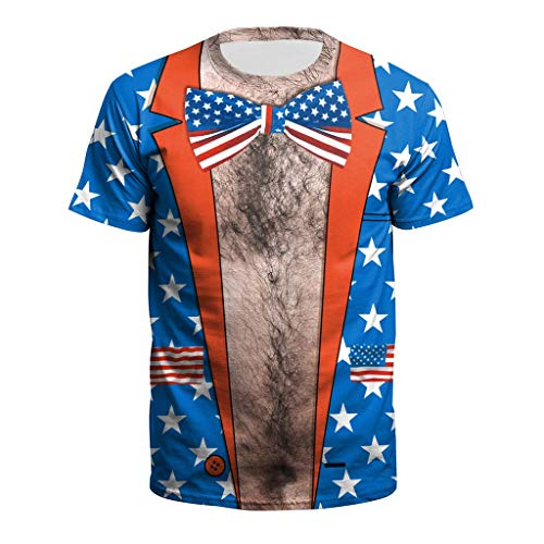 - WILLBE Men's Shirts New USA Flag T-Shirt Men Sexy Striped T Shirt Summer Independence Day Tops Casual Short Sleeve Tops