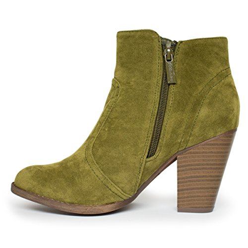 Breckelle's Women's Faux HEATHER Suede 34 Heel Olive Booties Ankle Ts Chunky SFrSqwPd