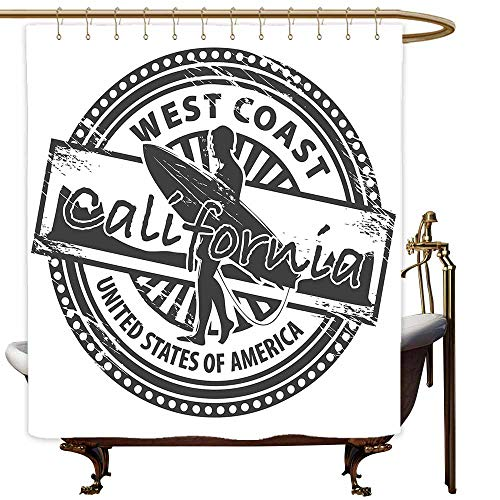 MaryMunger Shower Curtain with Hooks Ride The Wave West Coast California United States of America Grunge Vintage Stamp Print Fabric Shower Curtain Bathroom W47x63L Grey White