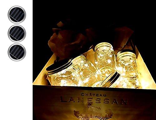 [Mason Jar Light 3 Pack - Solar 10 LED Color Changing Fairy Lights Lids Insert for Garden Decor Wedding Christmas Holiday Party Decorative Lighting Fit for Regular Mouth Jars (Warm)] (Terrace 3 Light Pendant)