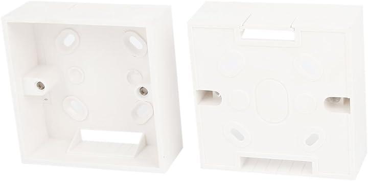 2 Piezas Blanco PVC Superficie Montura Placa de Montaje 1 Enchufe Pattress Parte Trasera Caja: Amazon.es: Bricolaje y herramientas
