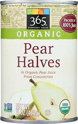 365 Everyday Value, Organic Pear Halves in Organic Pear Juice from Concentrate, 15 - Pear Bartlett