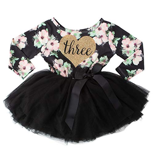 Grace & Lucille 3rd Birthday Dress (Long Sleeve) (3T, Black Floral Long Sleeve, Gold Three Heart)