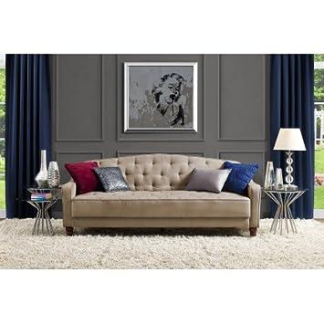 Amazoncom 9 by Novogratz Vintage Tufted Sofa Sleeper II Taupe