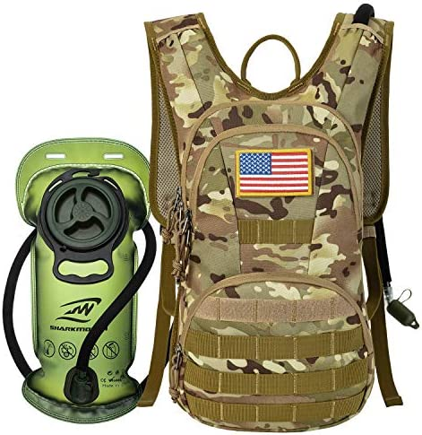 SHARKMOUTH Hydration Pack, Tactical Molle Hydration Pack Backpack 900D with 2L BPA Free Hydration Water Bladder, Military Daypack for Running, Hiking, Cycling, Climbing, Hunting Working Out