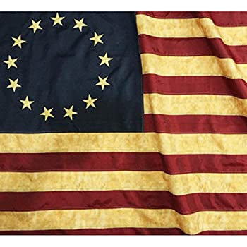 d2e76a2e8dab Anley  Vintage Style Tea Stained Betsy Ross Flag 3x5 Foot Nylon -  Embroidered Stars and Sewn Stripes - 4 Rows of Lock Stitching - Antiqued  Early USA Banner ...