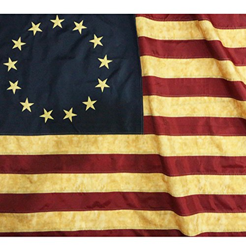 Anley Vintage Style Tea Stained Betsy Ross Flag 3x5 Foot Nylon - Embroidered Stars and Sewn Stripes - 4 Rows of Lock Stitching - Antiqued Early USA Banner Flags with Brass Grommets 3 X 5 Ft ()