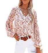 SHEWIN Womens Casual Boho Floral Print V Neck Long Sleeve Loose Blouses Shirts Tops