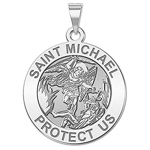 Patron Saint Medal Necklace - PicturesOnGold.com St Michael Pendant - Saint Michael Pendant Religious Medal Necklace - 1 Inch - Size of a Quarter in Sterling Silver - Includes 18 inch Cable Chain. (Necklace Only)