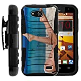 TurtleArmor | Compatible for ZTE Speed Case | N9130 [Hyper Shock] Hybrid Rugged Kickstand Cover Carry Belt Clip Holster Hard Protector Impact Silicone Beach Design - Bikini Legs