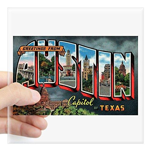 CafePress - Vintage Austin Texas Greeting Card Sq. Sticker 3&Q - Square Bumper Sticker Car Decal, 3