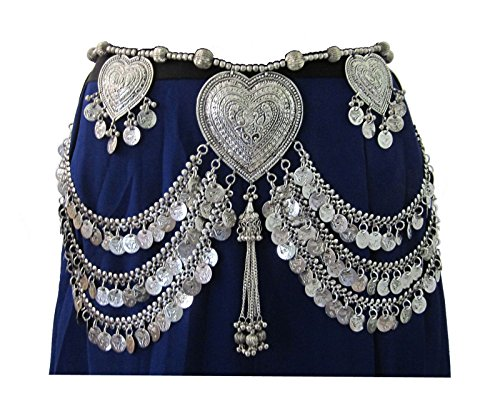 IndiaStop Original Design- Fusion American Tribal Style Belly Dance Coin Belt- Dancer Costume Dress Skirt Hip Scarf Wrap Waist Decorative Jewelry- Womens Fashion Accessory Bohemian Gypsy Hippie ()