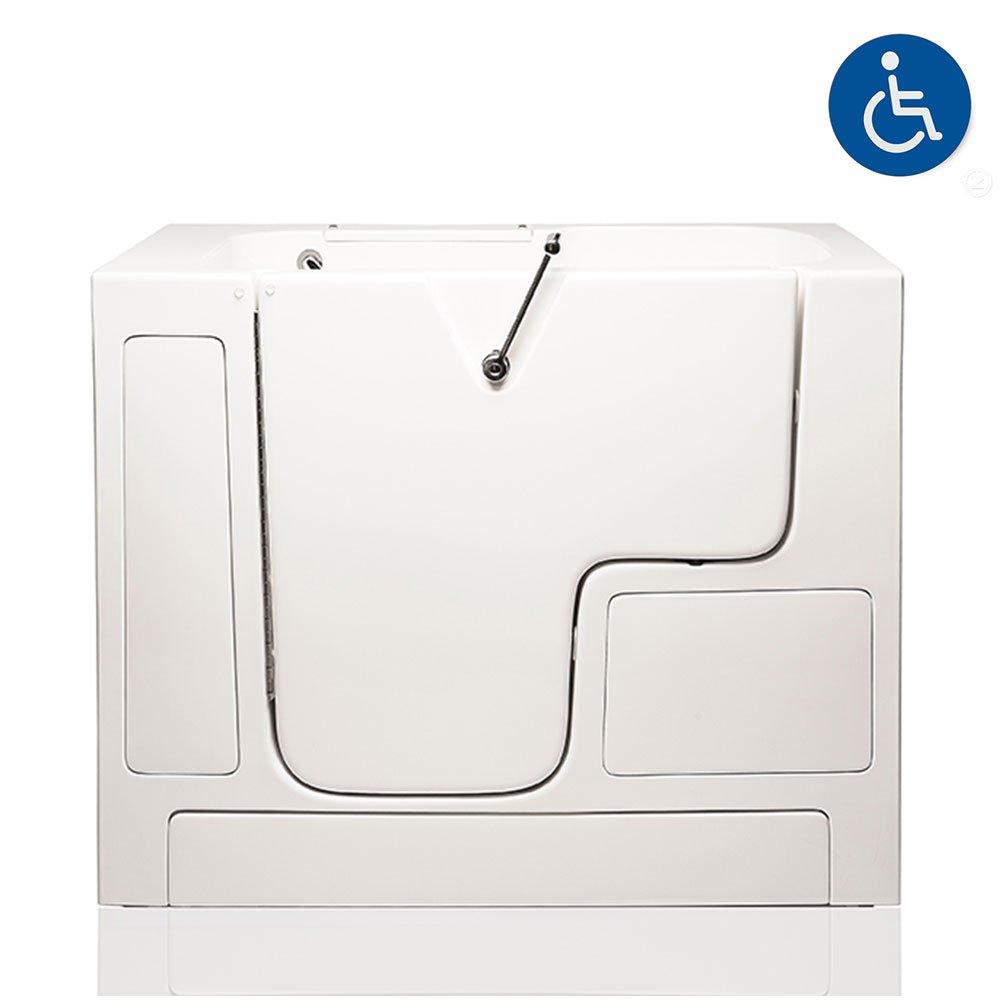 American Tubs LOVE3252W 32'' x 52'' Air & Hydro Massage Wheelchair Accessible Soaker Walk-in Bathtub - Left Drain (White)