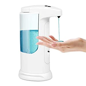Automatic Touchless Soap Dispenser 400ML - 14 OZ Liquid Dispenser with 3 Adjustable Dispensing Volume, IP65 Waterproof, Anti-Leakage, Battery Operated Electric Soap Dispenser for Kids,Adults, Kitchen