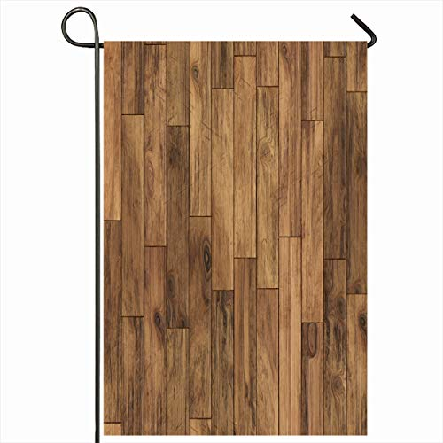 """Ahawoso Outdoor Garden Flags 28""""x40"""" Inch Tile Brown Floor Parquet Pattern Abstract Plank Wood Wooden Oak Dark Timber Vertical Double Sided Home Decorative House Yard Sign"""
