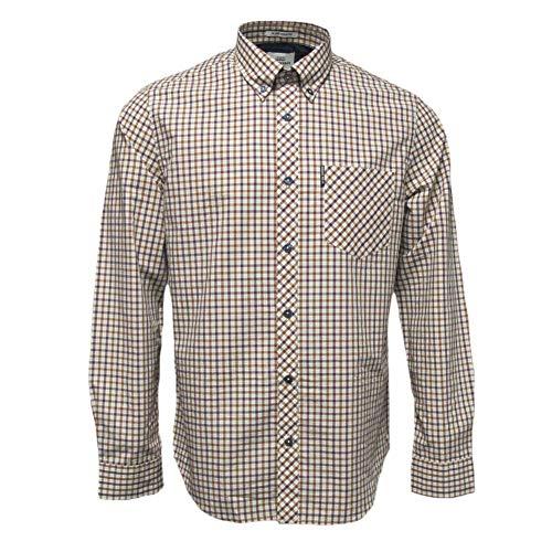 Ben Sherman Mens House Check Long Sleeve Mod Shirt Port M