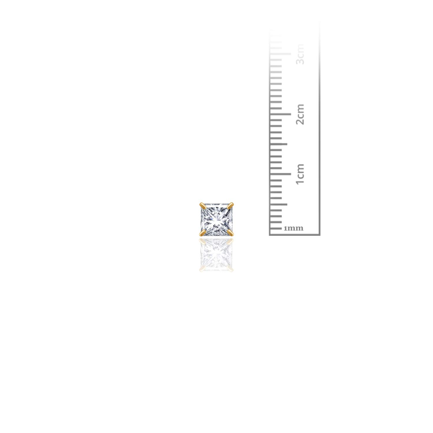 14kt Solid Yellow Gold Superbright Clear Cz Basket Setting Square Screwback Stud Earrings