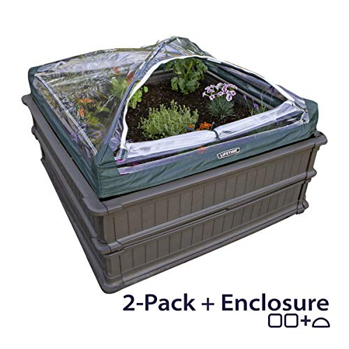 Lifetime 60053 Raised Garden Bed Kit, 2 Beds and 1 Early Start Vinyl Enclosure - Flower Bed Tent