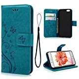iPhone 6 Case, iPhone 6S Wallet Case (Not for Plus), MOLLYCOOCLE Blue Butterfly